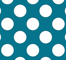 White dots on blue - retro style by CatchyLittleArt