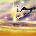 Dragon breathing fire on White Tower Version 2 by Grant Wilson