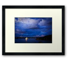 Cruising into Sydney Harbour before dawn Framed Print