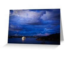 Cruising into Sydney Harbour before dawn Greeting Card