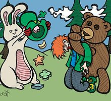 Teddy Bear And Bunny - Not So Lucky by Brett Gilbert