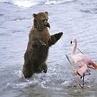 Beaked Grizzly fighting a Shaolin Flamingo by Felfriast