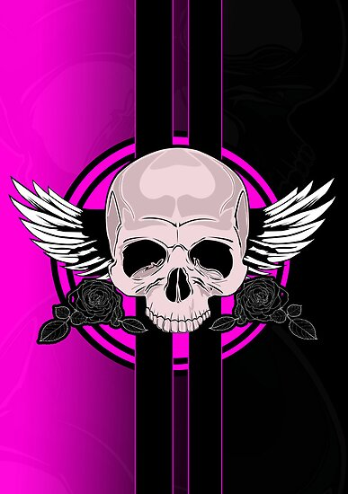 Wing Skull - PINK by Adamzworld