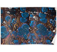 marbled paper - blue mushroom 2 layer Poster
