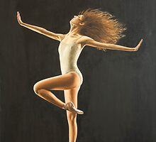 "Fine art ballerina painting "" Dancing girl"" by barryjdavisart"