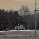 Rustic Old Railroad Car in Small Town by Kimberly Scott