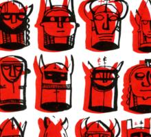 Wee Helmeted Red Folk Sticker
