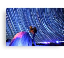 Electric Blue Star Trails Over Joshua Tree Desert Sky Canvas Print