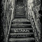 Lower Manhattan Stairwell (Houston Street, New York City) by alan shapiro