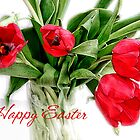 Red Tulips Happy Easter Card by LouiseK