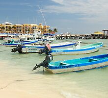 Fishing Boats in Playa Del Carmen Mexico by Roupen  Baker