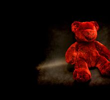 Red Teddy postcard (small teddy) by Maria Tzamtzi