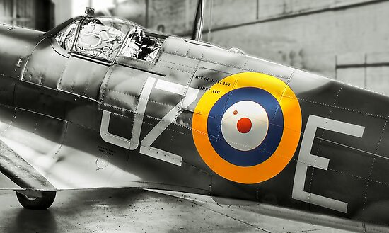 Sunlight On Spitfire - HDR BW by Colin J Williams Photography