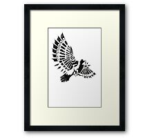 Raven Crow Shaman tribal tattoo design Framed Print