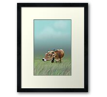 Milk cow in the field Framed Print