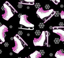 Black and Pink Ice Skating Print by JannaSalak
