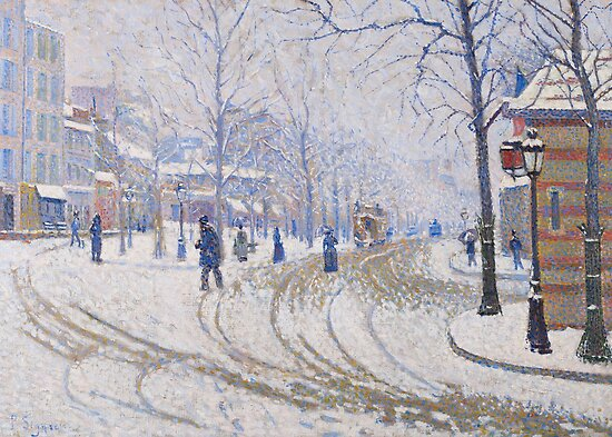 Snow, Boulevard de Clichy, Paris, 1886 by Bridgeman Art Library