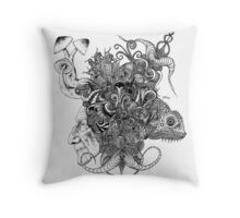 Psilocybinaturearthell Psychedelic Ink Illustration Throw Pillow