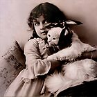 Girl and cat with toothache by © Kira Bodensted