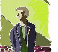 Man and green wall by Gabriele Maurus