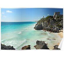Tulum Ruins Seascape Poster