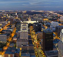 Austin Skyline Panorama in the Evening Facing East by RobGreebonPhoto