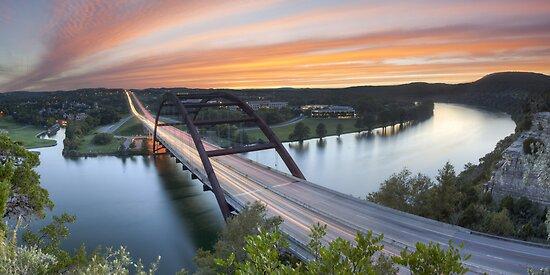 Pennybacker Bridge Panorama, Austin, Texas 3 by RobGreebonPhoto