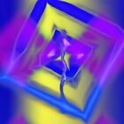 Abstract in Blue Pink and Yellow by Kellice