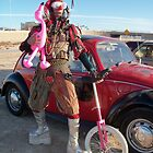 Jester, unicycle & pink flamingo by jollykangaroo