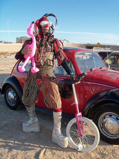 Jester, unicycle & pink flamingo by jollykangaroo