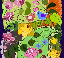 Colourful faux vintage flowers, swirls & love birds by walstraasart