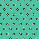 Little blossoms on turquoise green by CatchyLittleArt