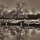 Winter on the Canal Sepia by DavidWHughes