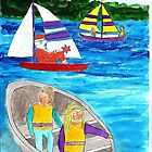 Santa is sailing by two girls in a boat by OraMorrison