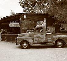 Route 66 Garage and Pickup by Frank Romeo