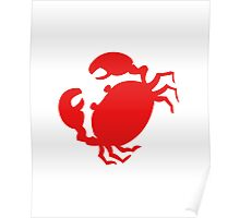 Cute Red Crab Outline Poster