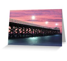 Grange Jetty: A fire in the sky Greeting Card
