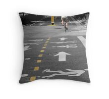 Single Biker on the Road Throw Pillow