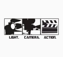 Light.Camera.Action. Movie Maker T-Shirt by CroDesign