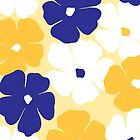 Geraniums in Blue & Yellow by Leona Hussey