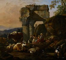 Roman Landscape with Cattle and Shepherds, 1676 by Bridgeman Art Library