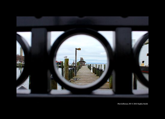 Wrought Iron Gate View Of Port Jefferson Dock - Long Island, New York by © Sophie W. Smith