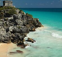 Mayan Temple and Turquoise Caribbean Sea by Roupen  Baker