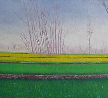 landscape painting mustard fields along the silk rout by artpk2009