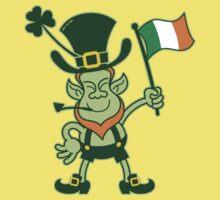 Proud Leprechaun Waving an Irish Flag Kids Clothes