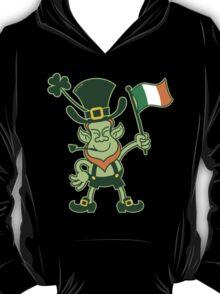 Proud Leprechaun Waving an Irish Flag T-Shirt