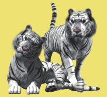 White Tigers .. Tee Shirt by LoneAngel