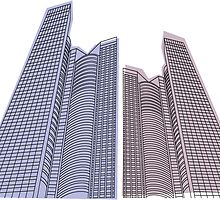 Vector buildings on a white background by Alexzel