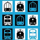 Transportation mosaics on a blue background by Alexzel