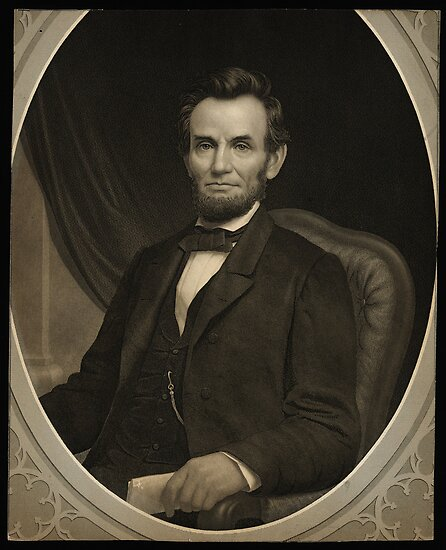 Portrait of Lincoln holding a document in his left hand, facing slightly left by Adam Asar